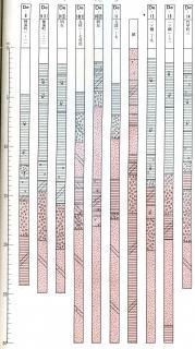 ボーリング結果の土質柱状図