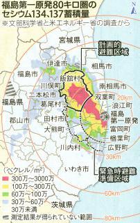 2011年5月12日の東京新聞から。「緊急避難準備区域」内であっても、川内村の過半は「クールスポット」であることがわかる